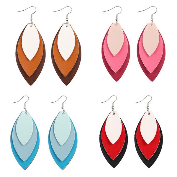 3 couches Gradient Boucles d'oreilles en cuir Feuilles Teardrop Dangle Boucles d'oreilles pour les femmes 2019 Hot Nouveau design pour le cadeau de bijoux femmes fille