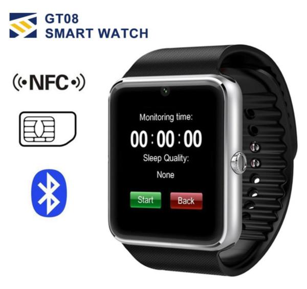GT08 Bluetooth Smart Watch con ranura para tarjeta SIM y NFC Health Air Watchs para Android Samsung y IOS Apple iPhone Smartwatch Pulsera