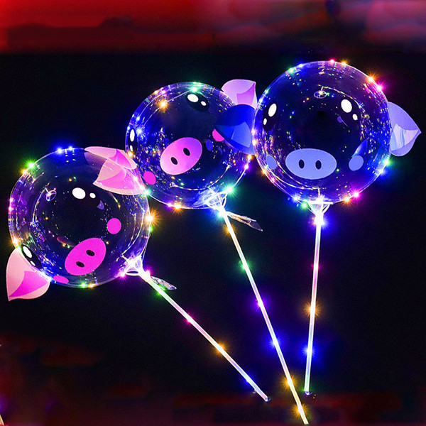 top popular 18 inch Piggy BOBO Balloon LED Cartoon Balls 3m LED Luminous Lights String Balloon Balls for Birthday Wedding Party MMA1403 2019