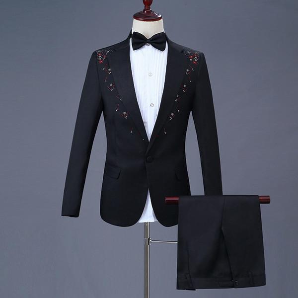 Traje para hombre, palo negro, diamante, botón único, traje de dos piezas, traje (chaqueta + pantalón), vestido de boda para novios de calidad