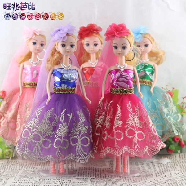 New Pattern 30cm Prosperous Trillion Barbie Doll Key Buckle Pendant Girl Wedding Dress Confused A Doll Toys Festival Gift
