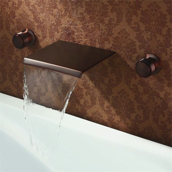 Modern Oil Rubbed Bronze Bathroom Faucet Waterfall Wall Mounted Bathtub Filler Basin Sink Tap