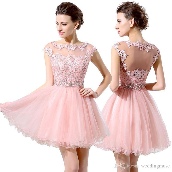 Party Dresses Cute Pink Short Prom Dresses Cheap A-Line Mini Tulle Lace Beads Cap Sleeves Bateau Homecoming Dresses 402
