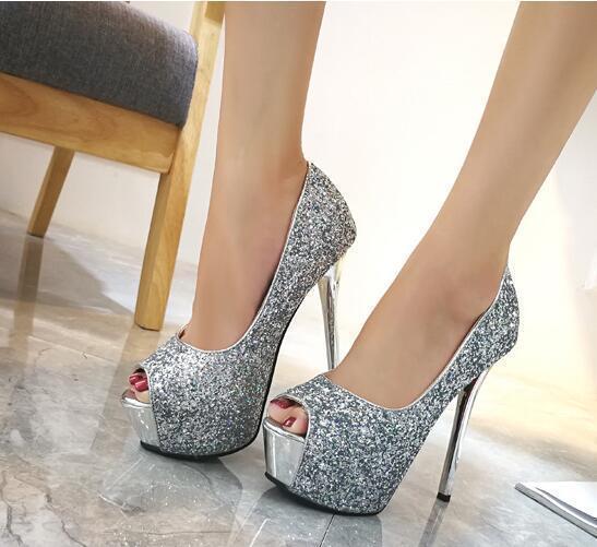 Silver heel 12 cm high