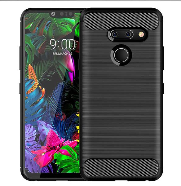 For LG G8 ThinQ G8s V30 V35 V40 V50 K30 K11 Plus Stylo 4 Aristo 2 Case Carbon Fiber Brushed Soft Gel TPU Skin Phone Back Silicon Cover