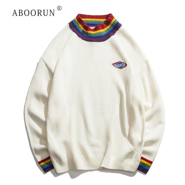 ABOORUN Rainbow Collar Pullover Men's Sweater 2019 Winter Loose Style Sweater for Men High Street Sweaters Black White R1411