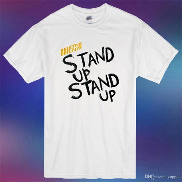 Charlie Sheen Winning White, Custom Made T-Shirt Letter T Shirt men Casual White T-shirt CustomHanson Pop Rock Band Stand Up Stand Up Album