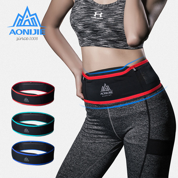 AONIJIE Running Waist Pack Men Women Sports Fanny Bag Unisex Trail Running Belt Invisible Fanny Waist Pack Mobile Phone Holder