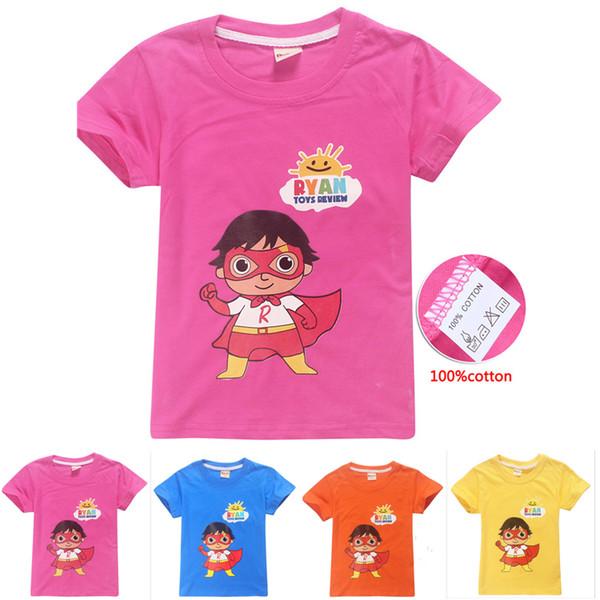 4 Colors 4-12y Kids Boys Girls Cotton T shirts Tees Ryan Toys Review kids designer clothes boys Kids Clothes DHL FJ06