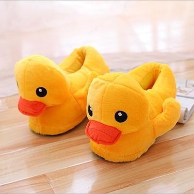 2019 Adorável pato amarelo amantes chinelos de algodão, inverno chinelos de pelúcia chinelos de pato dos desenhos animados, chinelos de algodão quente confortável interior