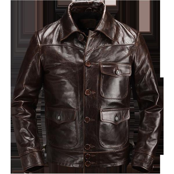 2019 Marrone americano casuale del rivestimento di cuoio degli uomini di stile monopetto Plus Size XXXL autentico cappotto T191108 pelle bovina autunno naturale