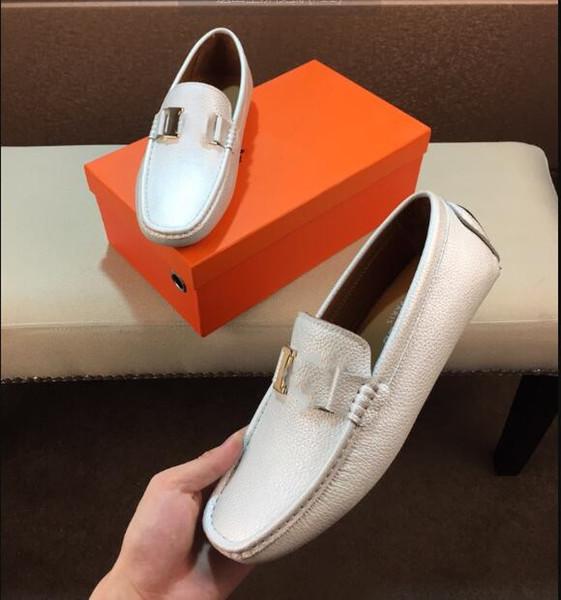Le meilleur des hommes en cuir robe chaussures en cuir de luxe mocassins à la main glisser sur italien marque designer robe habillée chaussures grande taille 38-44