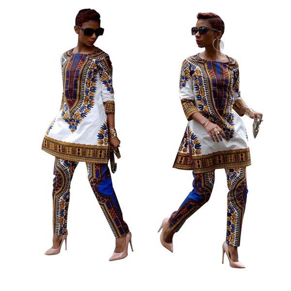 Joliment Africain Imprimer Robes Pour Femmes Dashiki Traditionnel Africain Deux Pièces Ensemble Survêtement Imprimer Bazin Tops Pantalon Vêtements Costume Féminin