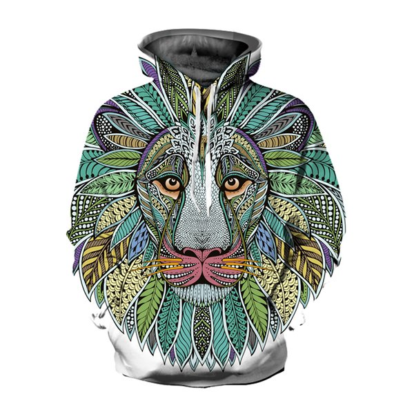 Fashion 3D Hoodies Men/Women Casual Hip Hop Sweatshirt Lion Traksuit Pullover Hoody Jacket for Men Hooded Coats Outwear