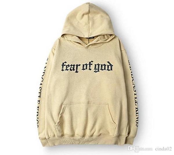 Männer Angst vor Gott Hoodie Beige Zweck Tour Sweatshirt Gorilla Wear Hiphop Sweatshirt Skateboard Wes Hochwertige Hoodies