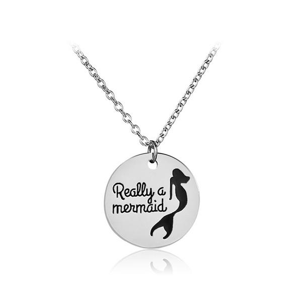 Vraiment un collier de sirène pour fille Creative lettre sirène colliers Pendentifs queue de poisson bijoux Long collier lettre collier 162232