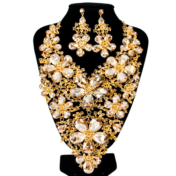Luxury Vintage Jewelry Set Necklace Earrings Maxi Women Big Pendent CHEAP Statement Collares F1102 with Rhinestones 6 Colors