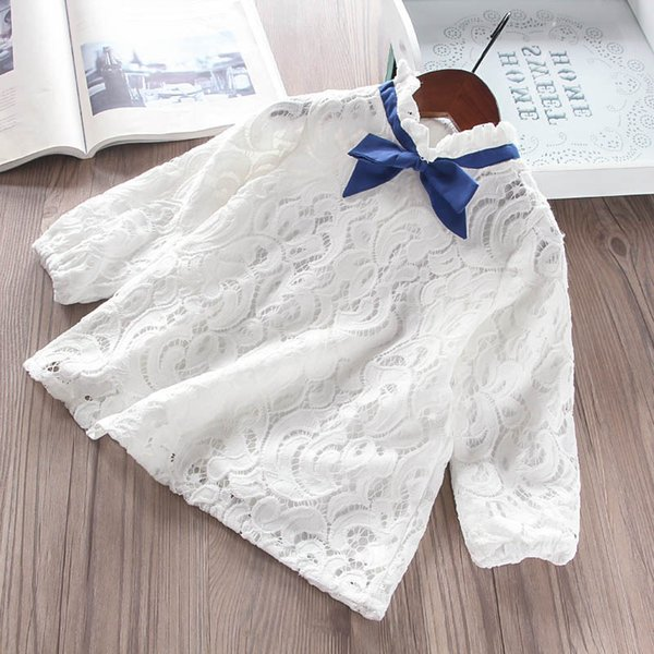 106bd1ae21d 2019 новый милый модная одежда для девочек белое кружево цветочные детская  дизайнерская одежда девушки рубашки платья