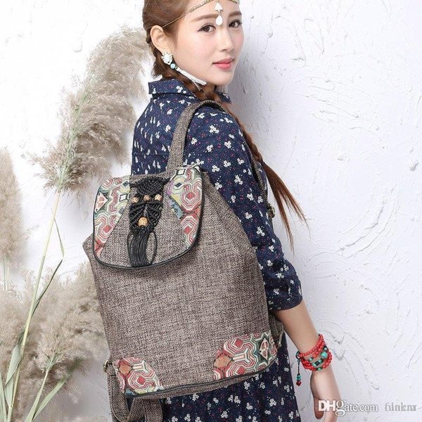 Wholesale- National style women canvas backpack Embroidery backpack linen drawstring backpack girl shoulder bags
