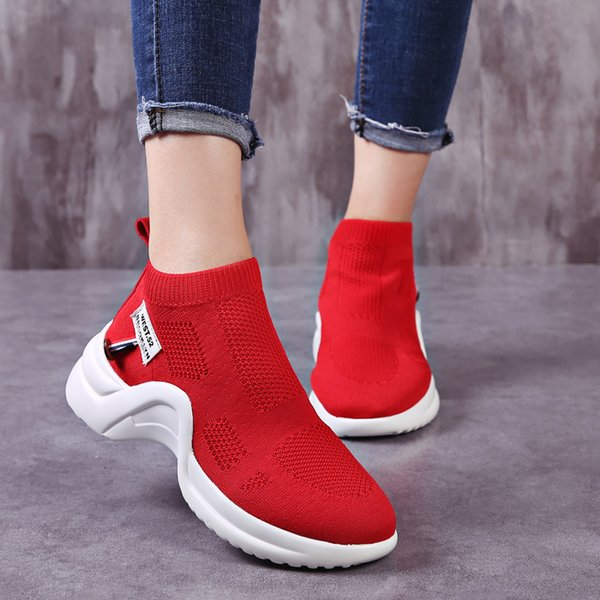 2019 Moda Feminina Sapatos Casuais Malha Respirável Verão Feminino Casual Sneakers Meias de Alta Qualidade Tênis Chaussures Femme 35-40
