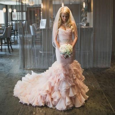 Elegant Pink mermaid organza wedding dresses Sweetheart Trumpet Train Tiered Ruffles Country Wedding Dress Vintage Lace Up vestido de novia