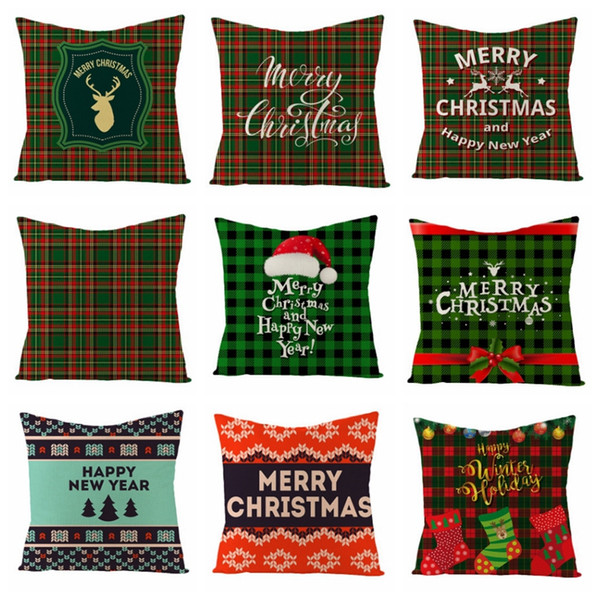 top popular Cushion Covers Christmas Throw Pillow Case Square Linen Decorative Pillows Covers Sofa Cushion Cover Christmas Decorations 40 Designs DW4526 2021