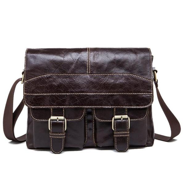 Mva Messenger Bag Men's Shoulder Bag Uomo Retro Zip Crossbody 9880. Cioccolato