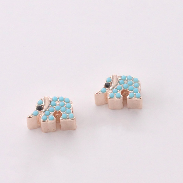 wholesale Gold Plated Small Elephant Crystal Pendant DIY Gift Charm Connectors For Bracelet Necklace Clothes Jewelry Findings 10pcs