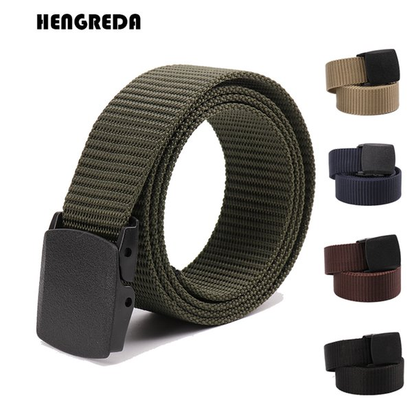 Men Belt Woman Army Belt 2018 Tactical Wide Waist Belts Plastic Buckle Light Weight Black Nylon Travel 120cm