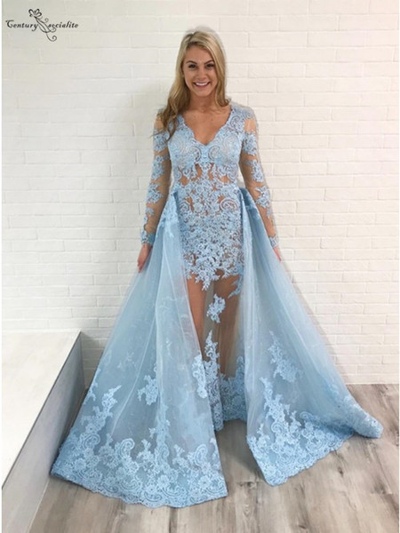 Sky Blue Mermaid Evening Dresses With Detachable Train Long Sleeves Lace Appliques Illusion Organza Party Dress Prom Gowns 2019