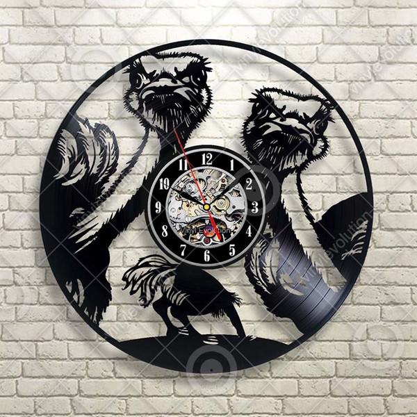 Etiqueta engomada gigante del reloj de la pared del bosque de los pájaros del árbol de los pájaros del avestruz del emu Decoración para el hogar del bebé Hecho a mano Regalo de la personalidad del arte (tamaño: 12 pulgadas, color: negro)
