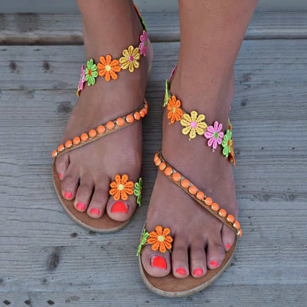 Sandálias do verão das mulheres Strappy Gladiator Baixo Plano Heel flip flops Praia Plus Size Sandálias Sapatos Casual
