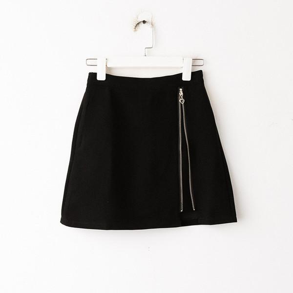 9db2de05e6 Jooyoo Summer New Irregular Falda de cintura alta Cremallera Una palabra Falda  Corta Bolsa Hip Mujer Falda