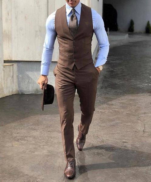 Classy High Quality Wedding Tuxedos Brown Mens Wedding Suits Two Pieces Groom Wear Cheap Formal Suit (Vest+Pants) Custom Made