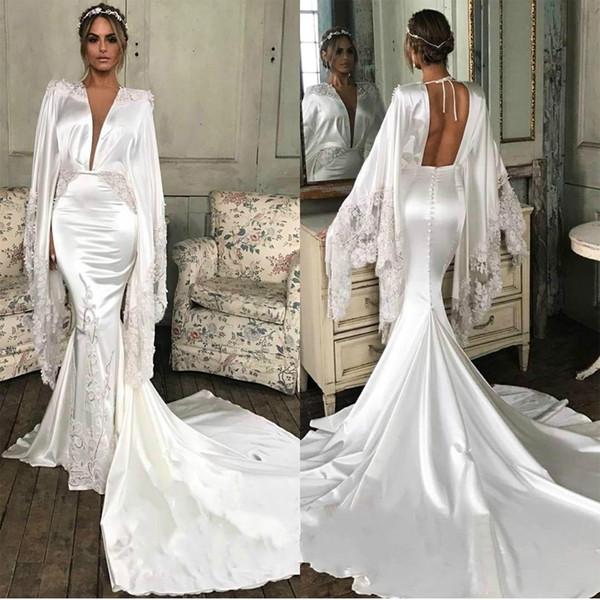 Designer Mermaid White Saudita Abiti da sera Poet Manica lunga Backless Celebrity Dress 2019 Sweep Train Satin Red Carpet Gowns