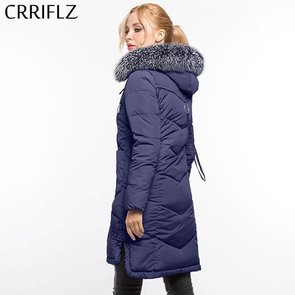 2019 NEW Fashion Woman's Coat Warm Winter Jacket Long Women Hooded Coat Down Parkas Female Outerwear CRRIFLZ Winter Collection Coats