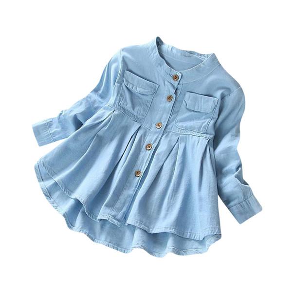 Çocuk Bebek Kız Uzun Kollu Küçük Pileli Işık Düğmeli Denim Gömlek Çocuk Giyim Ropa Ninas Ubrania Dla Dziewczynek