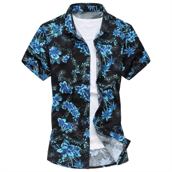 Summer Mens Short Sleeve Beach Hawaiian Shirts Casual Flower Floral Shirts Plus Size 6XL 2018 New Mens Clothing Fashion #490525