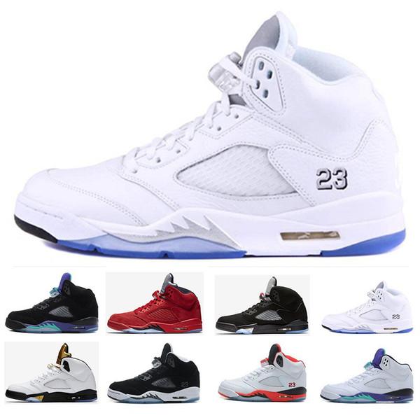 Compre Nike Air Jordan Aj5 Retro 5 5s Alas Vuelo Internacional Zapatos De Baloncesto Para Hombre Medalla De Oro Olímpica Rojo Azul De Gamuza OG