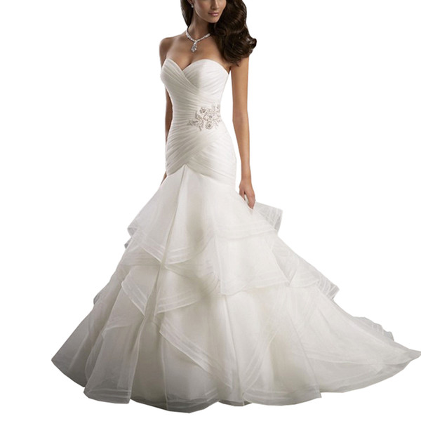 Vestidos de Novia 2019 Hot Sale New Style Sexy Mermaid Luxury Diamond Wedding Dress Slim Fishtail Wedding Dress Custom Made Gowns