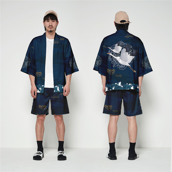 V Neck Cardigan Solto Tang Terno Plus Size 2 PCS Conjuntos de Homens Verão Impresso Mens Quimono Roupas