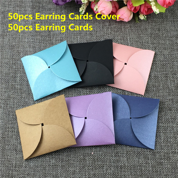 50Sets 6.5x6.5cm Multi Color Craft Paper Earring Cases Bags For Gifts Wedding And Ladies Jewelry Accessories Package Display