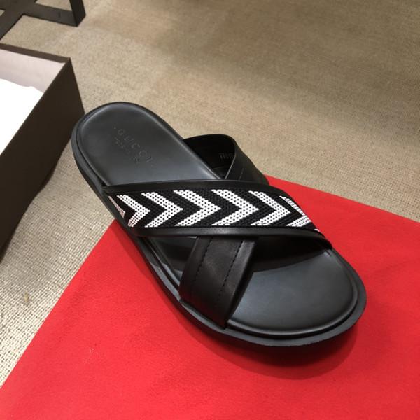 Hombre Verano Zapatillas Esenciales de Alta Calidad Diseñador de Lujo Playa Interior al aire libre Zapatillas planas desgastes con caja tamaño 38-45