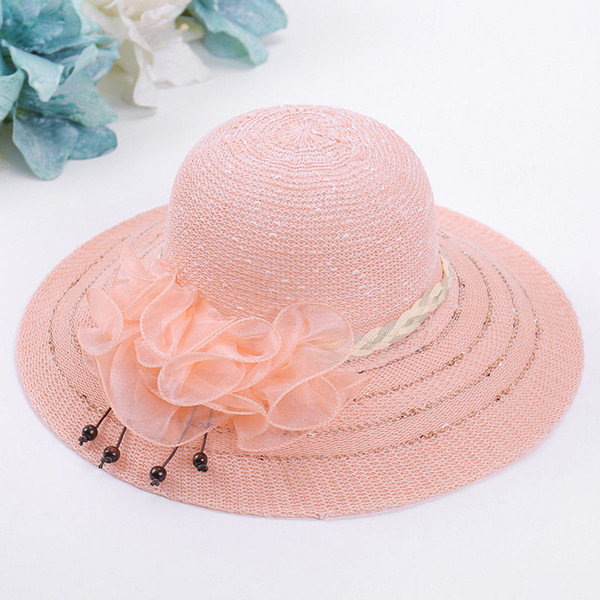 Ladies Beach Hat With Flower And Wide Brim Visor Purple White Beige Pink 4 Solid Color For Wholesale