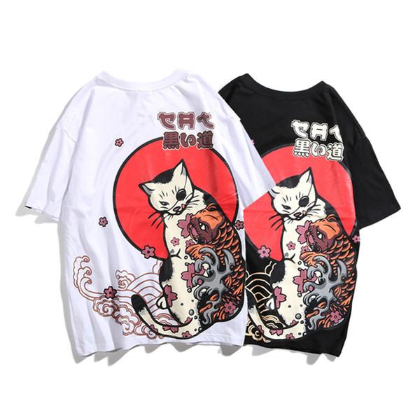 Mens T Shirt Fashion 2019 Short Sleeve Japanese Streetwear Ukiyo E Cat Printed Cotton Funny Harajuku Casual Anime Rock T-shirt