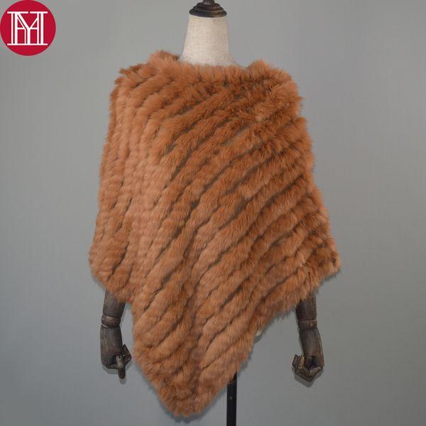 Women Spring Autumn Knit Genuine Real Rabbit Fur Poncho Scarves Real Natural Rabbit Fur Shawl Pashmina Real Rabbit Fur Scarf Y191015