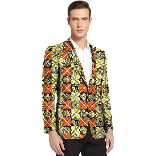 African clothing men's print blazers slim fit ankara fashion suit jacket customize for wedding wear male formal coat