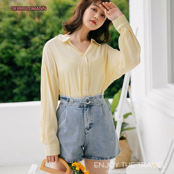 Summer Autumn Short Pants High Waist Ring Button with Stretchable back Korean Soft Comfortable Jeans Women