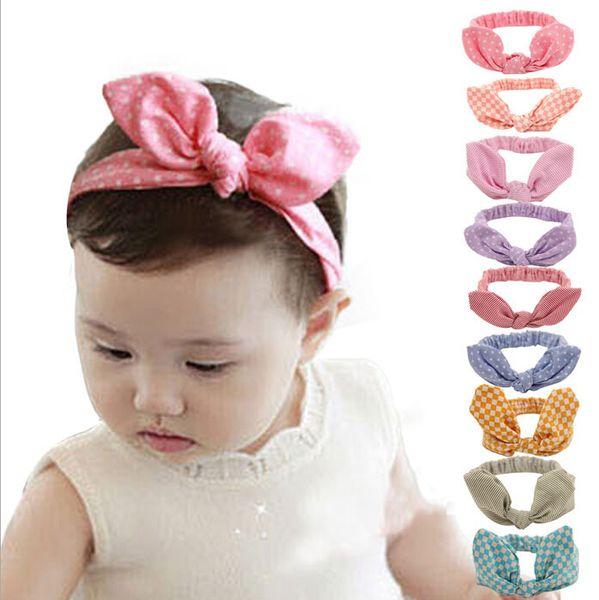 Cute Baby rabbit ear Headbands Kids Infant Linen Bow Dot Striped hair headdress Children Hair Accessories Christmas Party Gift