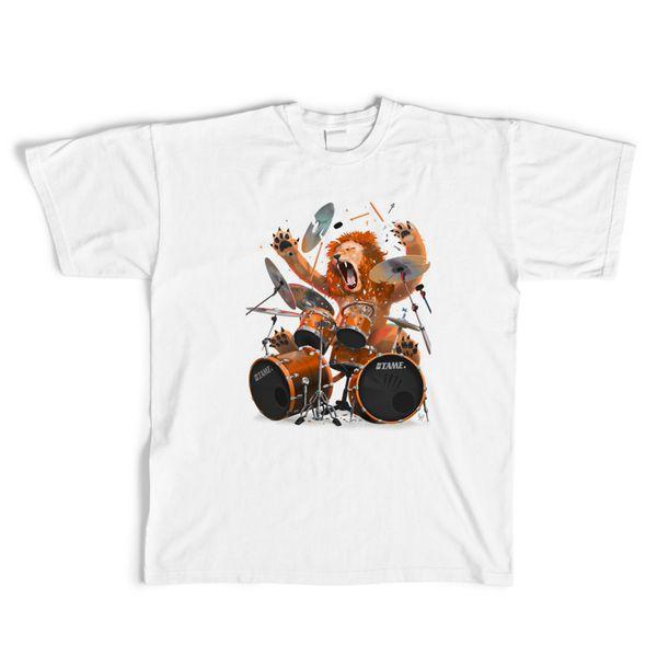 2018 Drum lion Print T-Shirt Mens hip hop rock gamers hipster T Shirt Casual tShirts harajuku Tops tees